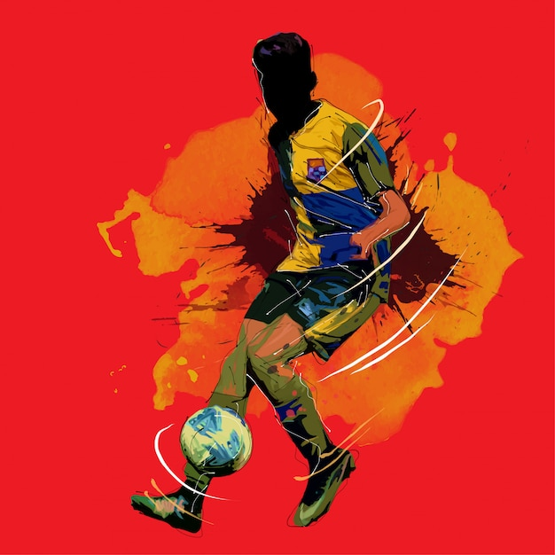 Football, peinture, football, silhouette Vecteur Premium