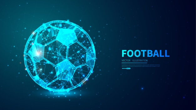 Football Avec Un Style Low Poly Brillant. Vecteur Premium