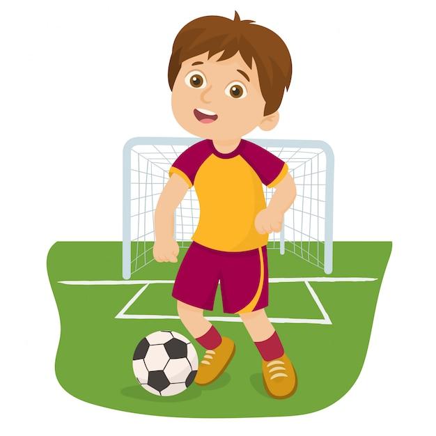 Footballeur Joue à La Balle Dans Un Stade Vecteur Premium