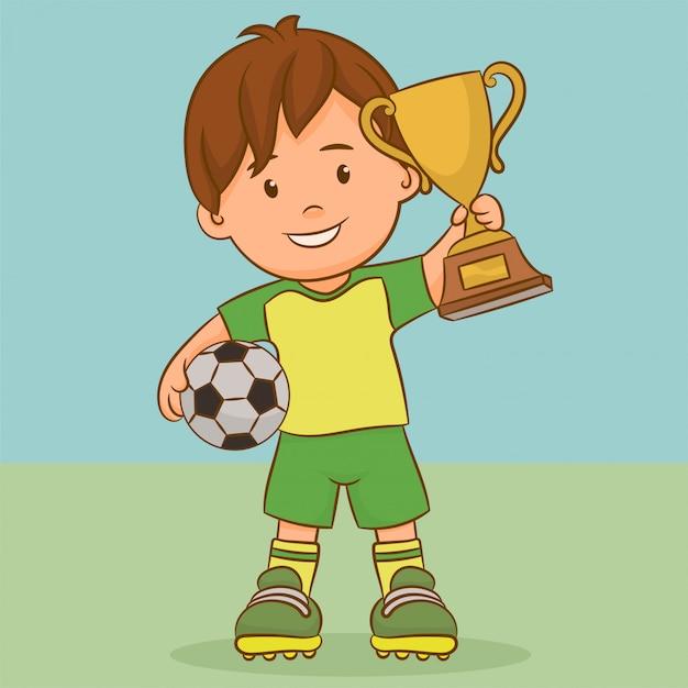 Footballeur tenant une coupe en or Vecteur Premium