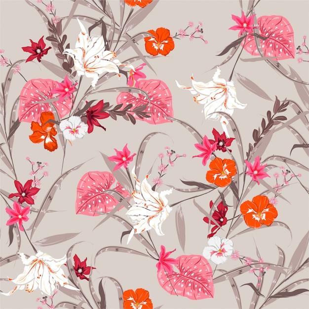 Forêt botanique douce vintage modèle de plantes florales sans soudure. fleurs exotiques de nombreux types d'illustration de fleurs. design pour tissus, web, mode et tous les imprimés Vecteur Premium