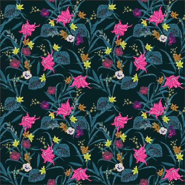 Forêt botanique nuit d'été sombre. fleurs exotiques de nombreux types d'illustration de fleurs. motif de plantes florales sans soudure de vecteur design pour tissu, web, mode et toutes les impressions Vecteur Premium