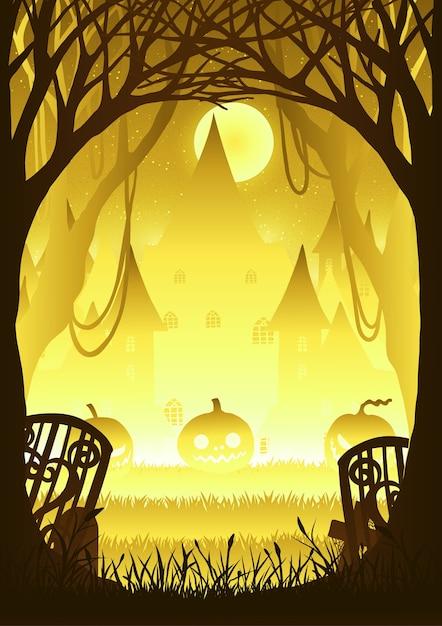 Forêt avec citrouille la nuit d'halloween. Vecteur Premium