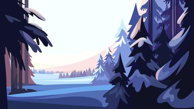 Forêt De Conifères D'hiver. Beau Paysage De Nature. Vecteur Premium
