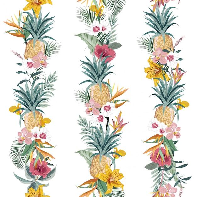 La forêt exotique tropicale de l'été coloré avec les fleurs et les fleurs d'été fleurissant créent une ligne verticale Vecteur Premium