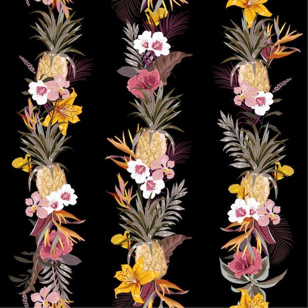Forêt exotique tropicale sombre et à la mode avec des fleurs et des fruits d'été épanouis créant une bande verticale en ligne Vecteur Premium