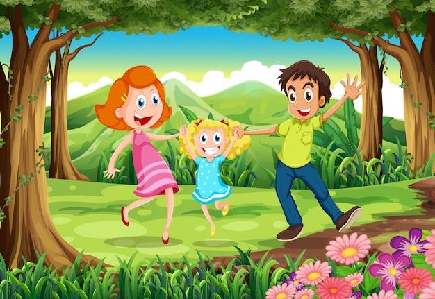 Une forêt avec une famille heureuse Vecteur gratuit