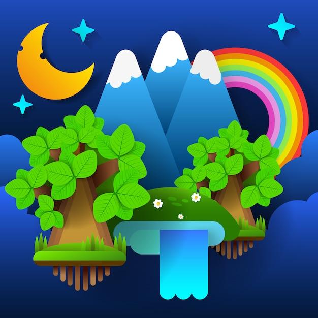 Forêt de féerie de nuit. lune dans le ciel avec un arc en ciel et des étoiles. vecteur Vecteur Premium