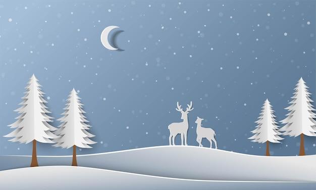 Forêt D'hiver Avec Illustration D'art De Papier De Famille De Cerfs Vecteur Premium