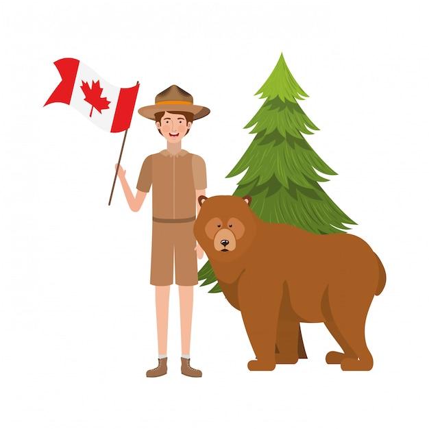 Forêt d'ours anima et rangerl du canada Vecteur gratuit