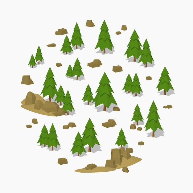 Forêt de pins isométrique 3d lowpoly Vecteur Premium