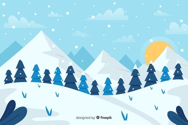 Forêt de sapins de noël et de montagnes avec soleil Vecteur gratuit