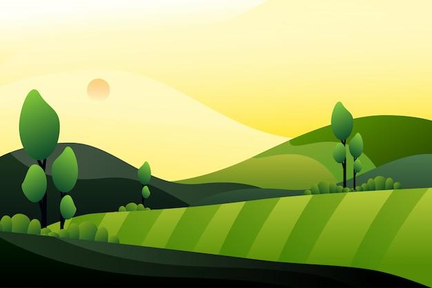 Forêt Verte Avec Fond De Montagne En Soirée Vecteur Premium