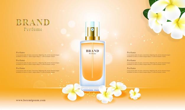 Forfait 3d fleur de parfum cosmétique de luxe Vecteur Premium
