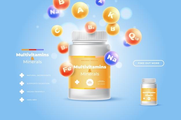 Forfait Complexe De Vitamines Réaliste Vecteur gratuit
