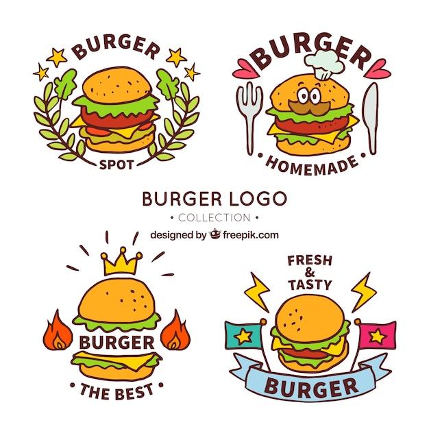 Forfait fantastique de logos de hamburger dessinés à la main Vecteur gratuit