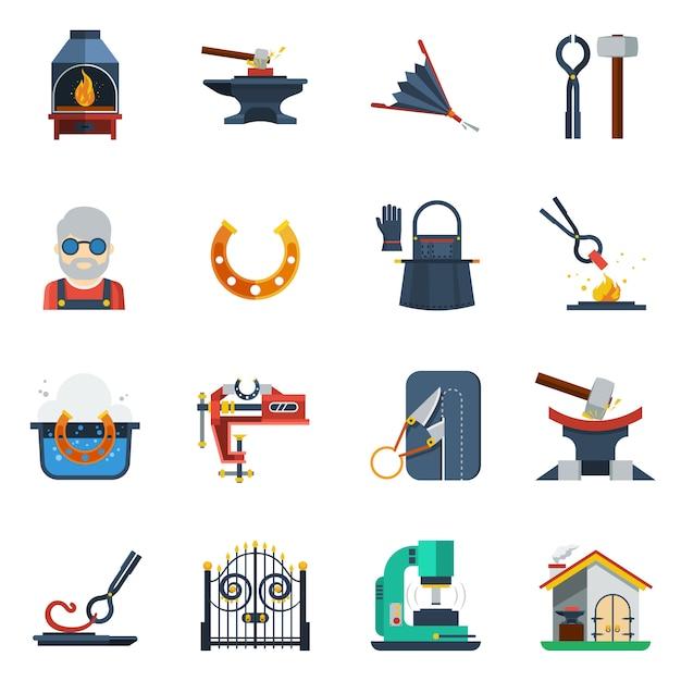 Forgeron Flat Color Icons Set Vecteur gratuit