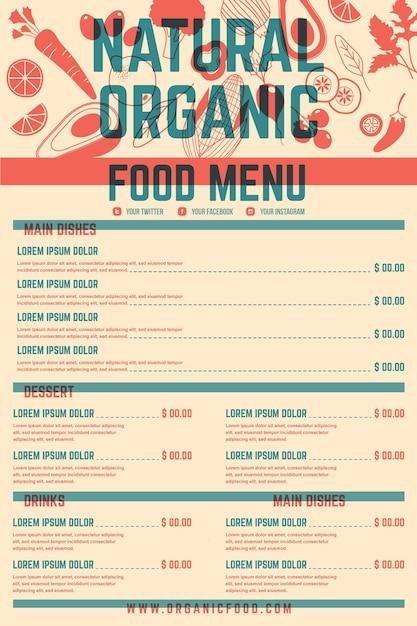 Format Vertical De Menu De Restaurant Numérique Vecteur gratuit