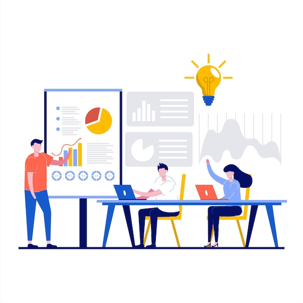 Formation, Concepts D'école De Commerce Avec Caractère. Vecteur Premium