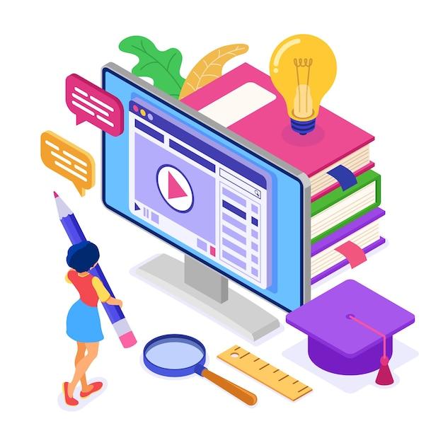 Formation En Ligne Ou Examen à Distance Avec Cours Internet De Caractères Isométriques E-learning Vecteur Premium