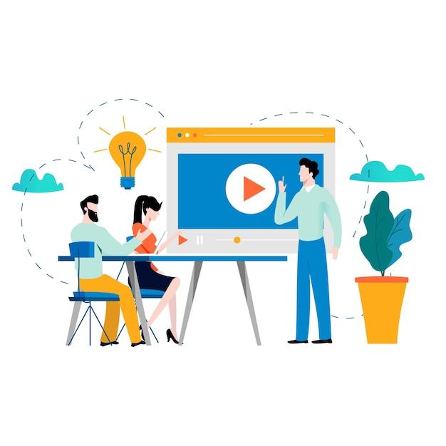 Formation professionnelle, éducation, tutoriels, cours de commerce Vecteur Premium