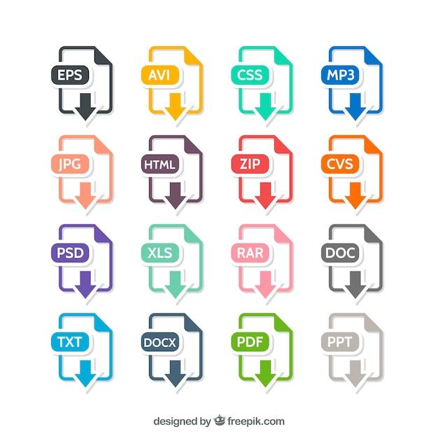 Formats De Fichiers Colorful Vecteur gratuit