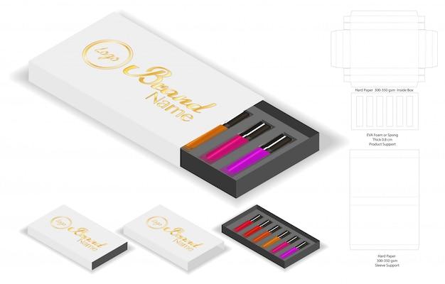 Forme De Boîte De Papier Pour Des Rouges à Lèvres Paquet Dieline Vecteur Premium