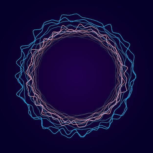 Forme circulaire néon de forme soundwave. égaliseur audio. Vecteur Premium