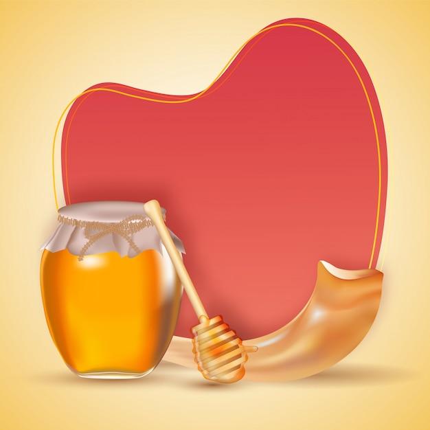 Forma de corazón rojo blanco y gotero con tarro de miel |  Vector ...