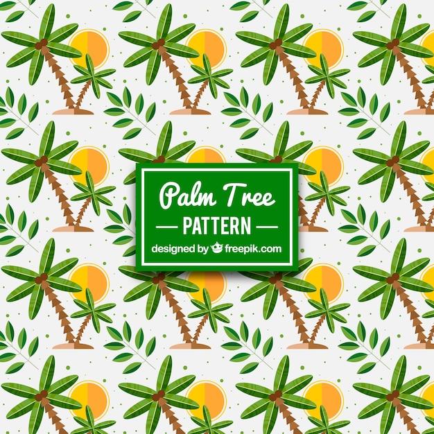 Forme Colorée Des Soleils Et Des Palmiers Vecteur gratuit