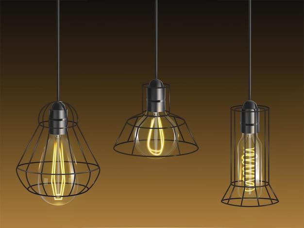 Forme différente vintage, ampoules à incandescence, lampes rétro avec filament chauffé Vecteur gratuit