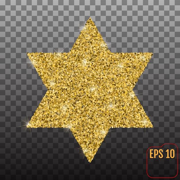 Forme d'étoile avec effet de paillettes d'or Vecteur Premium