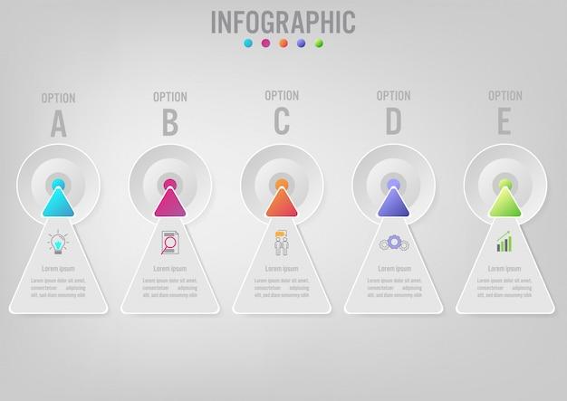Forme de flèches pour le modèle infographie métier Vecteur Premium