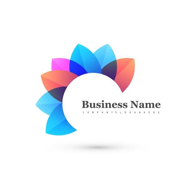 Forme florale abstraite et colorée avec logo Vecteur gratuit