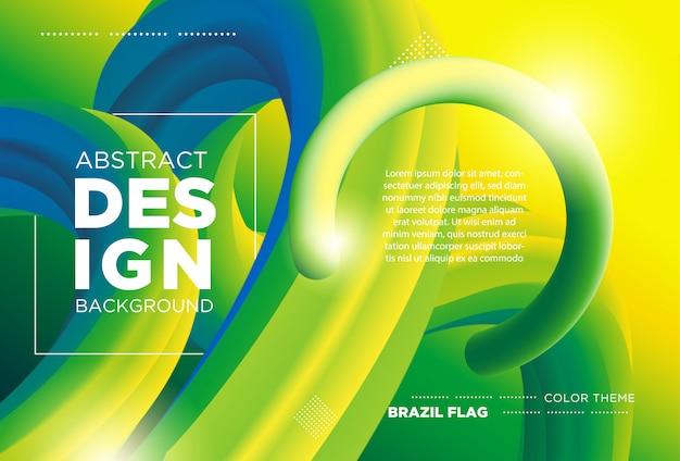 Forme de flux 3d design moderne. arrière-plans de la vague liquide avec concept de couleur de drapeau du brésil Vecteur Premium