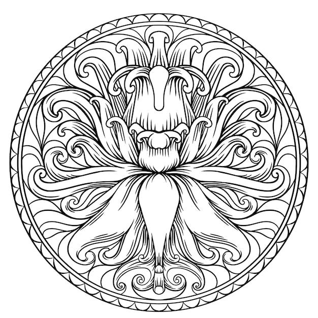 Forme Simple De Mandala Pour La Coloration. Vecteur Mandala. Floral. Fleur. Oriental. Aperçu De La Page Du Livre Vecteur Premium