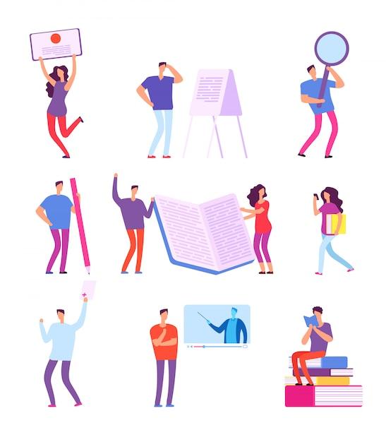 Former Les Gens. Education E-learning, Tutoriel Vidéo De Cours En Ligne, études à Distance Vecteur Premium