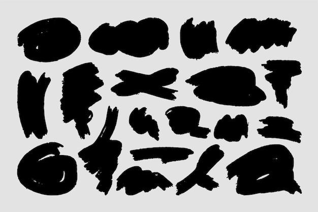 Formes Abstraites De Coups De Pinceau D'encre Vecteur gratuit