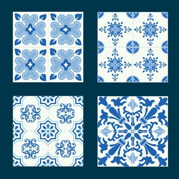 Formes bleues carreaux fixés Vecteur gratuit