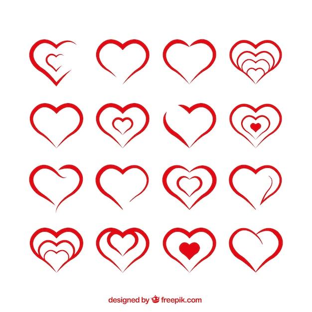 Formes de coeur Vecteur gratuit