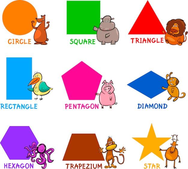 Formes géométriques de base avec des animaux de dessin animé Vecteur Premium