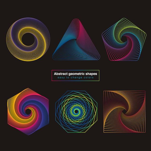 Formes géométriques colorées abstraites Vecteur Premium
