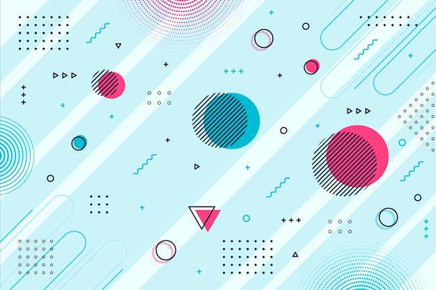 Formes géométriques de memphis fond bleu Vecteur gratuit