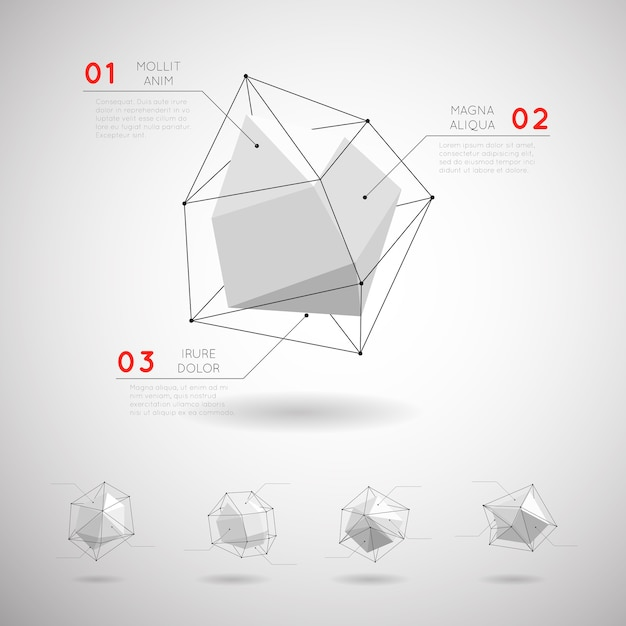 Formes Géométriques Polygonales Low Poly. élément De Cristal Abstrait Design 3d Vecteur gratuit