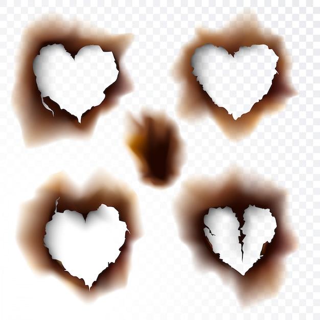 Formes de papier brûlé trou brûlé amour icône symbole illustration vectorielle Vecteur Premium