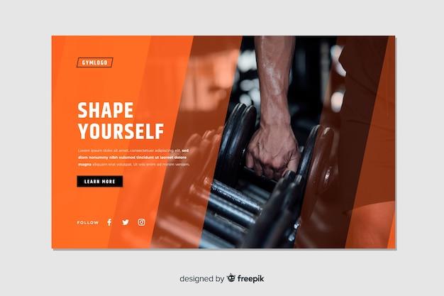 Formez-vous Une Page D'atterrissage De Promotion De Gym Avec Photo Vecteur gratuit