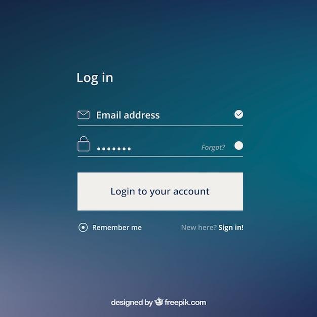 Formulaire de connexion sur fond bleu Vecteur gratuit