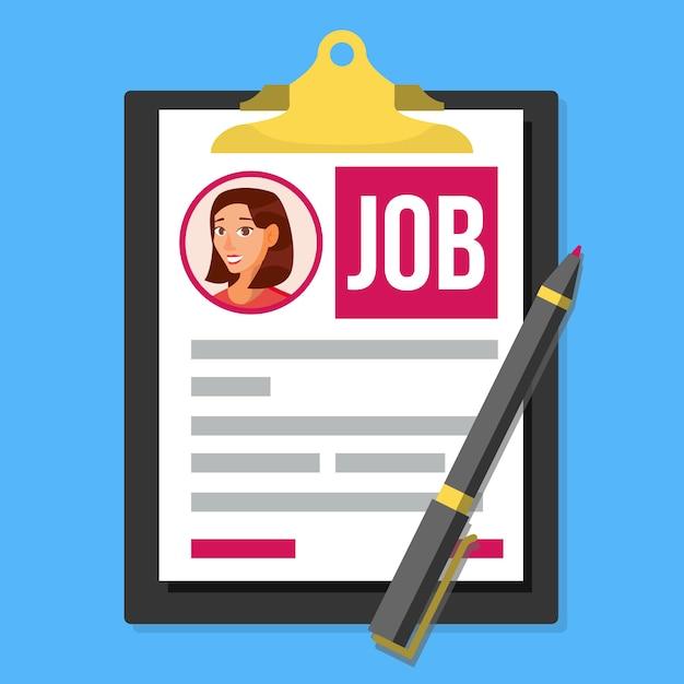Formulaire de demande d'emploi Vecteur Premium