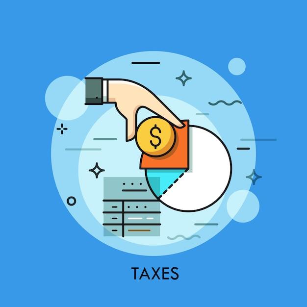 Formulaire D'impôt, Main Tenant Une Pièce D'un Dollar Et Illustration De Fine Ligne De Diagramme De Revenu Vecteur Premium