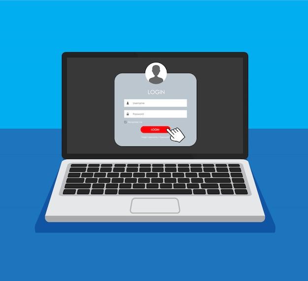 Formulaire D'inscription Et Page De Formulaire De Connexion Sur Un écran De Contrôle. Vecteur Premium